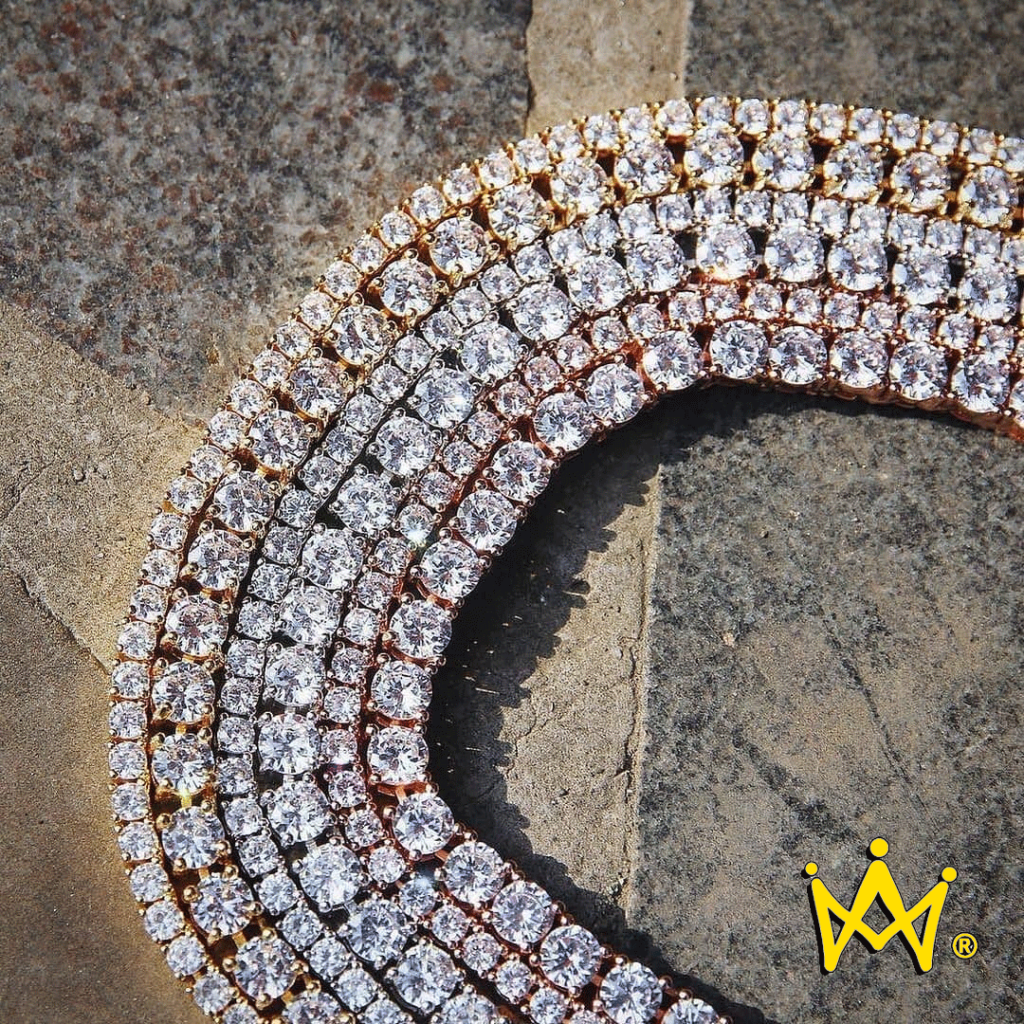 white gold, rose gold, yellow gold tennis chain layers