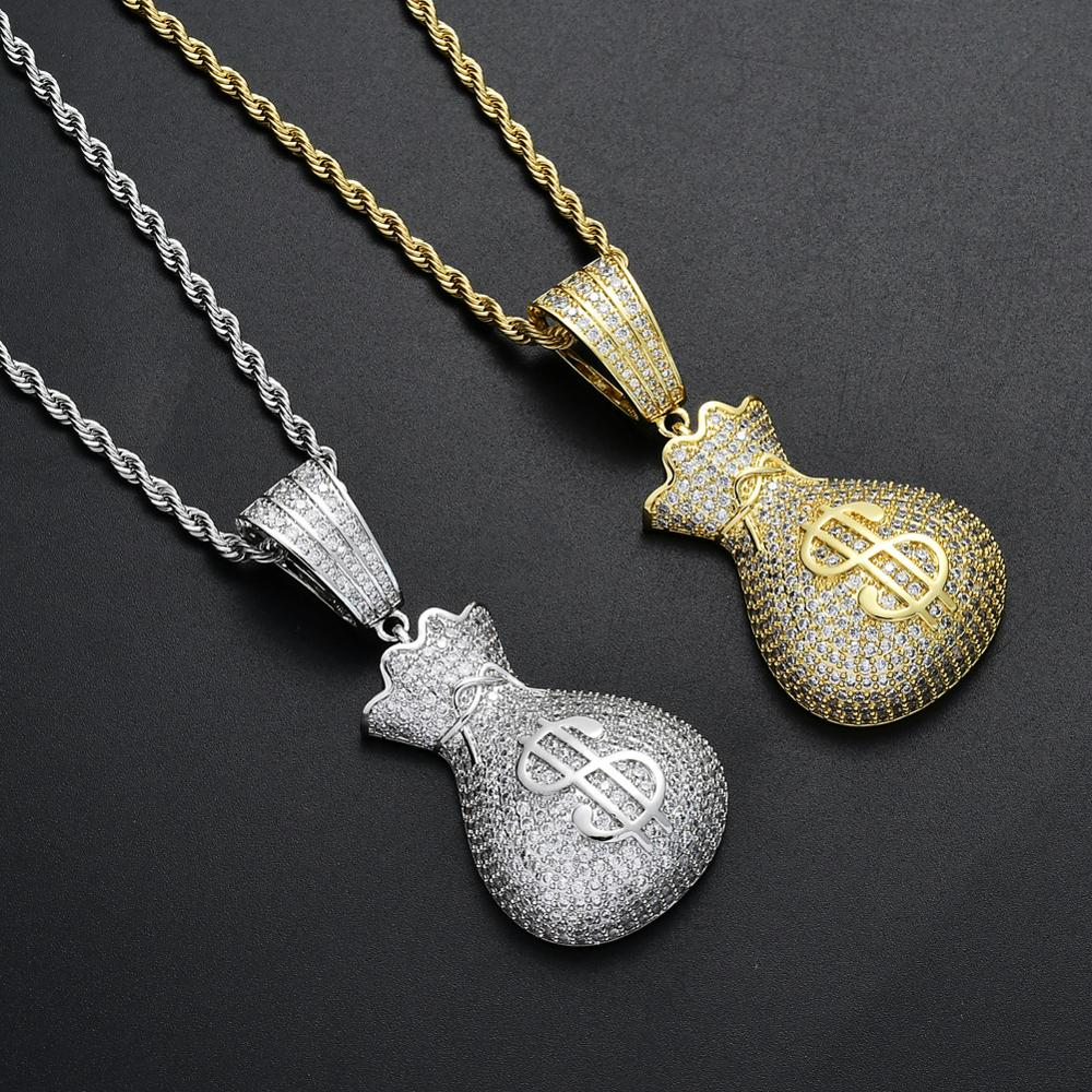 rope chain necklkace with money bag pendant, one size flat
