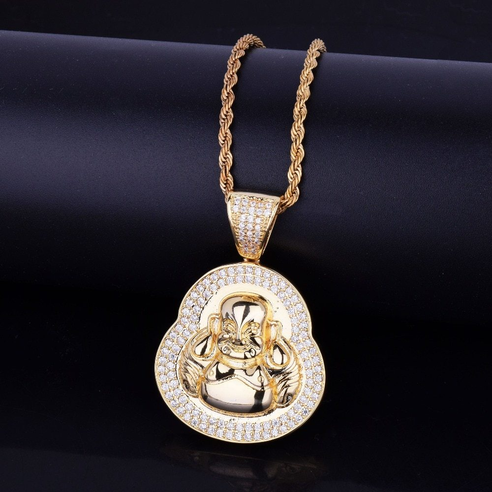 diamond buddha pendant with a gold plated rope chain.