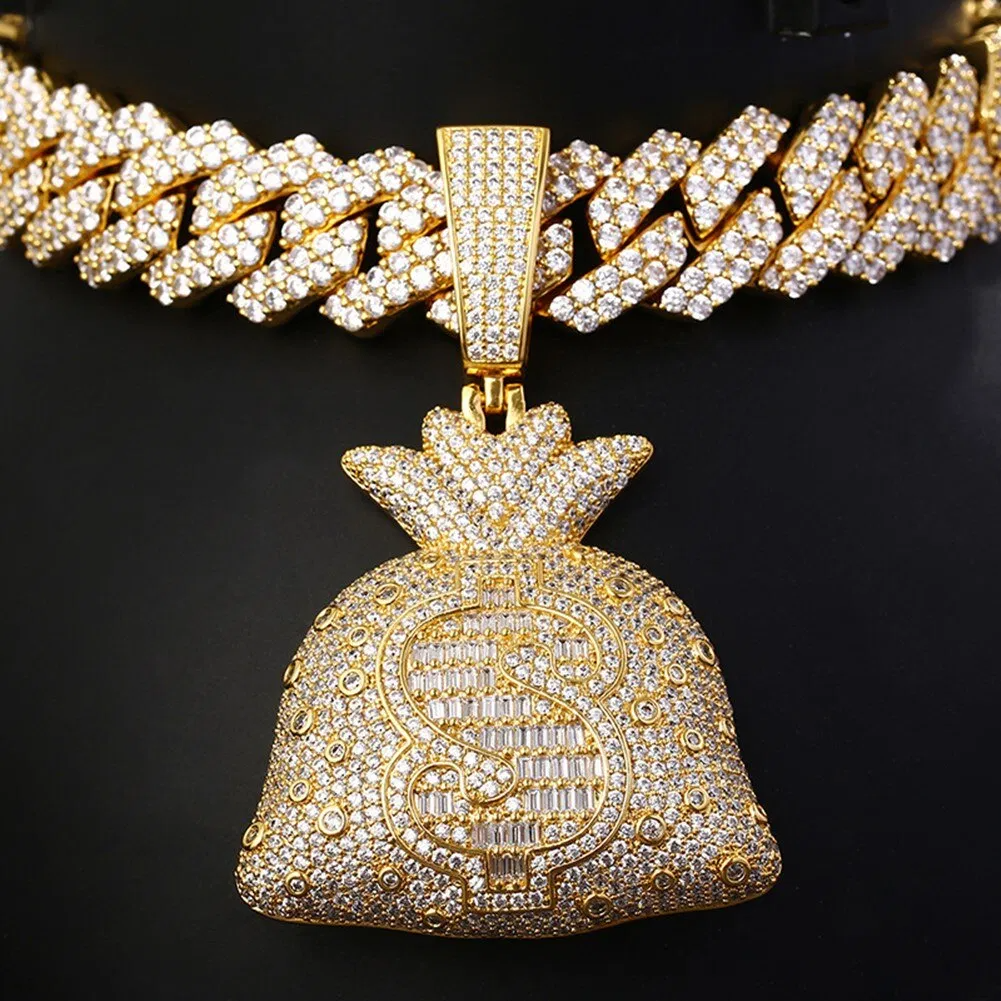 Money bag pendant with baguette cz stones and fully micro paved in a prong iced out cuban chain choker.